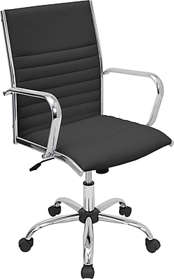 LumiSource Master Leather Computer and Desk Office Chair, Fixed Arms, Black (OFC-AC-MSTRBK)