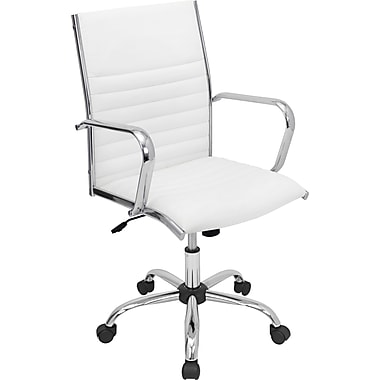 LumiSource Master Leather Computer and Desk Office Chair, Fixed Arms, White (OFC-AC-MSTRW)