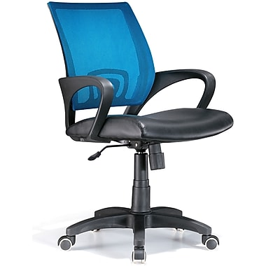 LumiSource SV Leather Computer and Desk Office Chair, Fixed Arms, Blue/Black (OFC-OFFCRMBU)