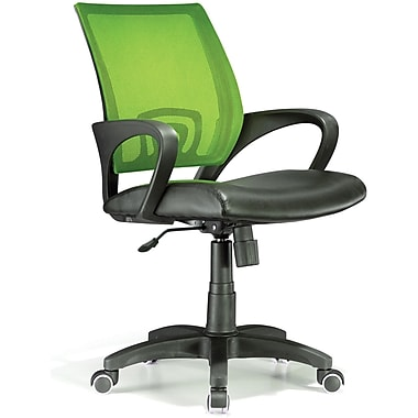 LumiSource Leather Computer and Desk Office Chair with Fixed Arms, Lime Green (OFC-OFFCR LG)