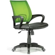 LumiSource LG Leather Computer and Desk Office Chair, Fixed Arms, Lime Green/Black (OFC-OFFCRLG)