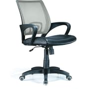 LumiSource SV Leather Computer and Desk Office Chair, Fixed Arms, Silver/Black (OFC-OFFCRSV)