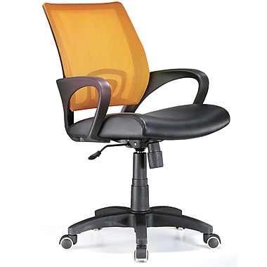 LumiSource Leather Computer and Desk Office Chair with Fixed Arms, Tangerine (OFC-OFFCR TNG)