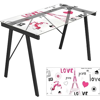 LumiSource Love In Paris Office Writing Desk, Clear Glass/Black (OFD-TM-PGPARIS)