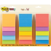 "Post-it® Super Sticky Notes, 3"" x 3"" Assorted Marrakesh and Rio de Janeiro Collections, 15 Pads/Pack (654-15SSMULTI)"