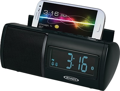 Jensen® Bluetooth® FM Clock Radio with USB Charging and Built-In Microphone Speaker Function