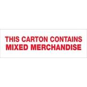 "Tape Logic® Pre-Printed Carton Sealing Tape, ""Mixed Merchandise"", 3"" x 110 yds., Red/White, 24/Case"