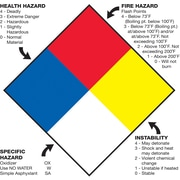 "Tape Logic™ Health Hazard Fire Hazard Specific Hazard Reactivity Regulated Label, 10 3/4"" x 10 3/4"""