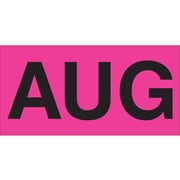 """Tape Logic™ 3"""" x 2"""" Rectangle """"AUG"""" Months of the Year Label, Fluorescent Pink, 500/Roll"""