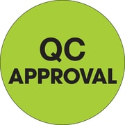 """Tape Logic™ 2"""" Circle """"QC Approval"""" Label, Fluorescent Green, 500/Roll"""