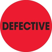 "Tape Logic™ 2"" Circle ""Defective"" Inventory Label, Fluorescent Red, 500/Roll"
