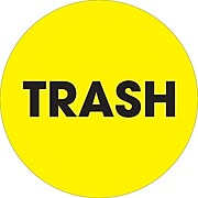 """Tape Logic 2"""" Circle """"Trash"""" Inventory Label, Fluorescent Yellow, 500/Roll"""