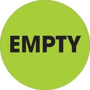 "Tape Logic™ 2"" Circle ""Empty"" Label, Fluorescent Green, 500/Roll"