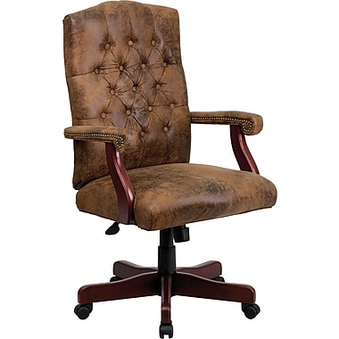 Flash Furniture – Fauteuil de direction en cuir, accoudoirs fixes, brun