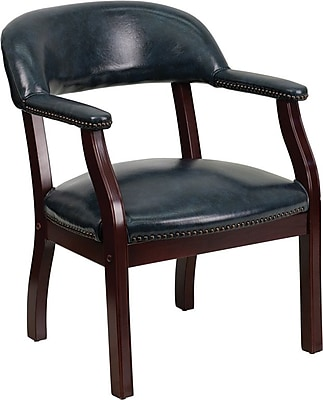 Flash Furniture Wood Conference Office Chair, Fixed Arms, Navy (BZ105NVY)