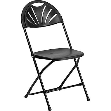 Flash Furniture HERCULES Series 440 lb. Capacity Plastic Fan Back Folding Chair, Black, 128/Pack