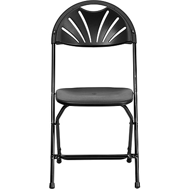 Flash Furniture HERCULES Series 440 lb. Capacity Plastic Fan Back Folding Chair, Black, 24/Pack