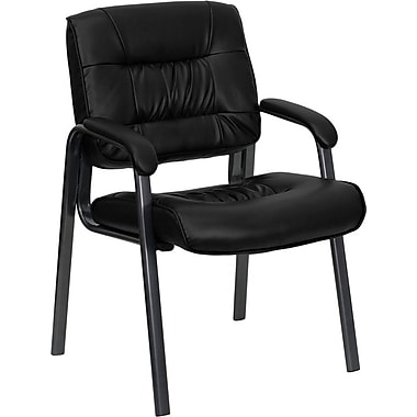 Flash Furniture LeatherSoft Leather Executive Office Chair, Fixed Arms, Black (BT1404BKGY)