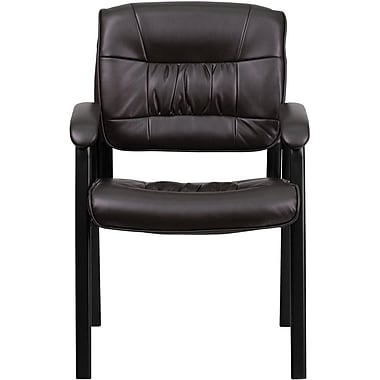 Flash Furniture Leather Guest / Reception Chair with Black Frame Finish, Brown
