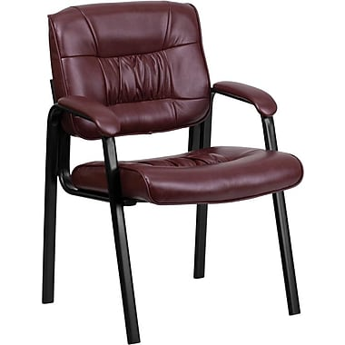 Flash Furniture Leather Guest / Reception Chair with Black Frame Finish, Burgundy