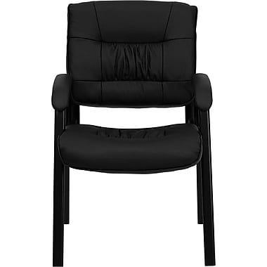 Flash Furniture Leather Guest / Reception Chair with Black Frame Finish, Black