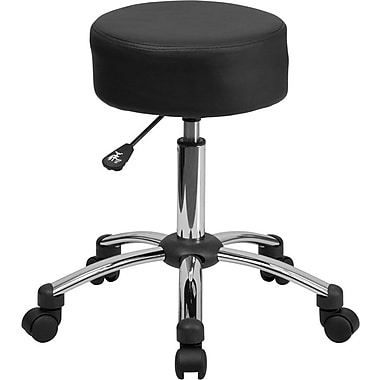 Flash Furniture Medical Chrome Base Leather Soft Ergonomic Stool, Armless, Black