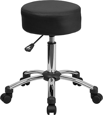 Flash Furniture Medical Chrome Base LeatherSoft Ergonomic Stool, Armless, Black