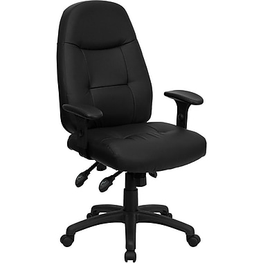 Flash Furniture High-Back Leather Soft Exec Chair, Adjustable Arms, Black (BT-2350-BRN-GG)
