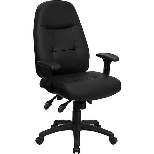Flash Furniture LeatherSoft Leather Executive Office Chair, Adjustable Arms, Black (BT2350BK)