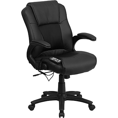 Flash Furniture Leather Exec Office Chair, Fixed Arms, Black