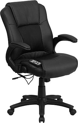 Flash Furniture Leather Executive Office Chair, Fixed Arms, Black (BT2536P1)