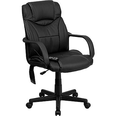 Flash Furniture High-Back Leather Soft Exec Chair, Fixed Arm, Black