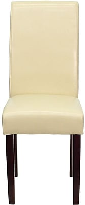 Flash Furniture BT-350-IVORY-050-GG Leather/Wood Side Chair, Mahogany