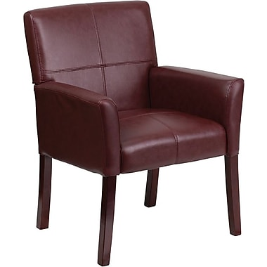 Flash Furniture Leather Exec Side Chair or Reception Chair with Mahogany Legs, Burgundy