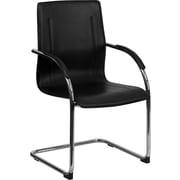 Flash Furniture – Chaise d'appoint en similicuir avec dossier mi-dos en vinyle, accoudoirs fixes, noir