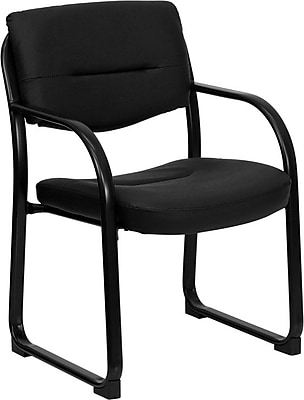 Flash Furniture BT510LEABK LeatherSoft Executive Side Chair with Fixed Arms, Black