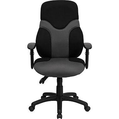 Flash Furniture BT6001GYBK Mesh High-Back Task Chair with Adjustable Arms, Black/Gray