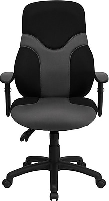 Flash Furniture Mesh Computer and Desk Office Chair, Adjustable Arms, Black/Gray (BT6001GYBK)