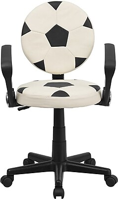 Flash Furniture Soccer Task Chair with Arms, Black and White