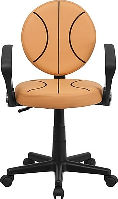 Flash Furniture Basketball Task Chair with Arms, Orange and Black