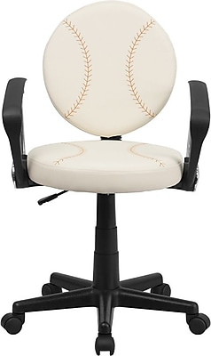 Flash Furniture Baseball Task Chair with Arms, Cream and Brown