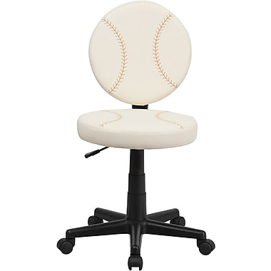 Flash Furniture – Chaise de travail au design baseball, crème et brun