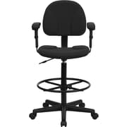 Flash Furniture Ergonomic Fabric Drafting Stool, Adjustable Arms, Black