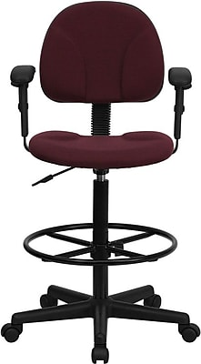 Flash Furniture Mid Back Fabric Ergonomic Drafting Stool With Arms, Burgundy