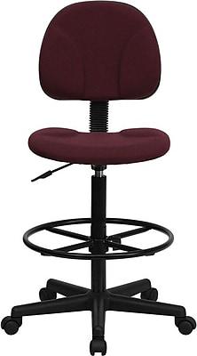 Flash Furniture Fabric Ergonomic Drafting Stool (Adjustable Range 26''-30.5''H or 22.5''-27''H), Burgundy