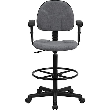 Flash Furniture Fabric Ergonomic Drafting Stool with Arms (Adjustable Range 26''-30.5''H or 22.5''-27''H), Gray