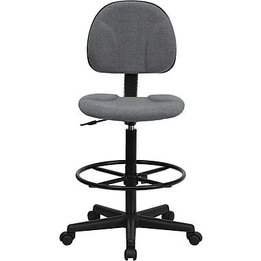 Flash Furniture – Tabouret de dessinateur ergonomique en tissu, sans accoudoirs, gris