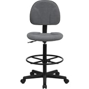 Flash Furniture Fabric Ergonomic Drafting Stool, Armless, Gray