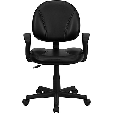 Flash Furniture BT688BKA Leather Soft Mid-Back Task Chair with Fixed Arms, Black