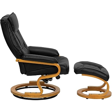 Flash Furniture Contemporary Leather Recliner and Ottoman with Swiveling Maple Wood Base